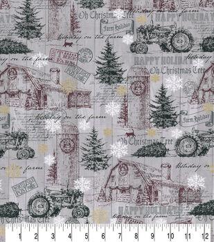Christmas Cotton Fabric-Gray Farm Holiday