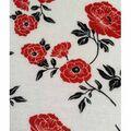 Knit Fabric 57\u0027\u0027-Red & Black Poppy on White