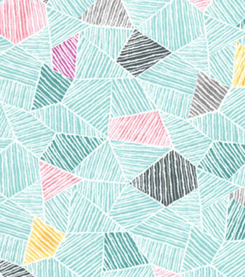 Premium Cotton Fabric 43''-Teal Mosaic Geometrics