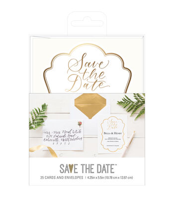 American Crafts Gold Save the Date Cards & Envelopes