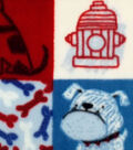 Anti-Pill Fleece Fabric -Sketched Doggies Patchwork