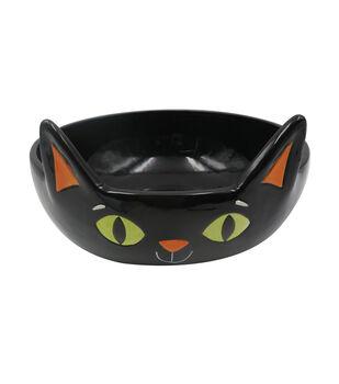 Maker's Halloween Ceramic Cat Head Candy Bowl
