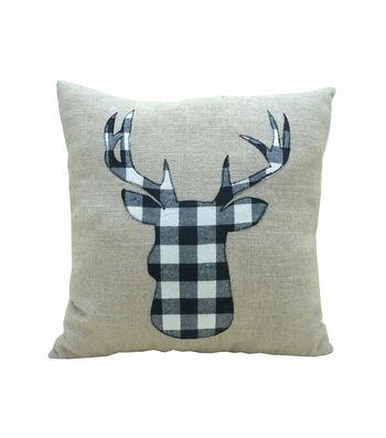 Maker's Holiday Christmas Buffalo Check Pillow-Black & White Plaid Stag