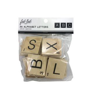 Fab Lab Craft 36 pk Tile Uppercase Alphabet Letters-Natural