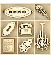 Kaisercraft Themed Mini Wooden Flourishes 35/Pkg-Trinkets, , hi-res