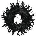 Coctail Feather Wreath 15\u0022 1/Pkg-Black