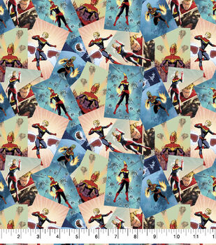 Marvel Cotton Fabric-Captain Marvel Scenes