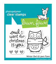 "Lawn Fawn Clear Stamps 3""X2""-Winter Owl, , hi-res"