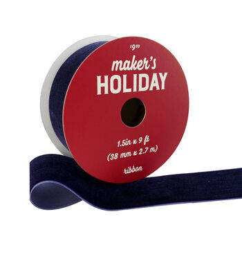 Maker's Holiday Christmas Velvet Ribbon 1.5''x9'-Navy Blue