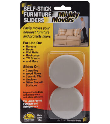 "Mighty Movers Self-Stick Furniture Sliders 2.2"" Round"