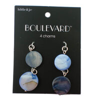 hildie & jo Boulevard 4 Pack Silver Charms-Blue Circle Shell, , hi-res