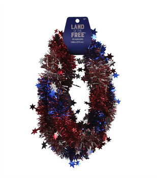 Land of the Free Patriotic 9' Wire Tinsel Garland