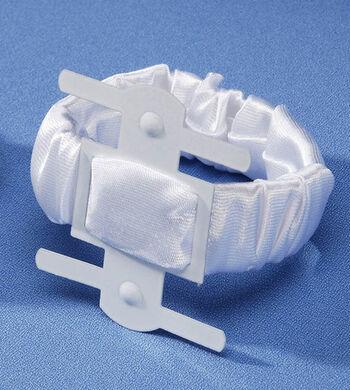 Darice Satin Covered Wrist Corsage Clip-White