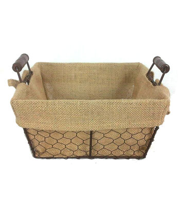 Organizing Essentials 10x10 Wire Basket with Burlap Liner