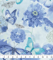 Keepsake Calico Cotton Fabric-Blue Watercolor Butterfly Floral, , hi-res