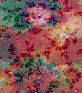 Embroidered CVC Crease Watercolor Floral Fabric
