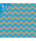 Colorbok Post Bound Album 12\u0022X12\u0022-Kraft Chevron Blue