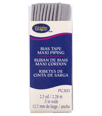 Wrights Maxi Piping Bias Tape 0.5''x2.5 yds-Gray