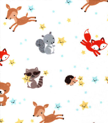 Nursery Flannel Fabric-Happy Stars & Animals