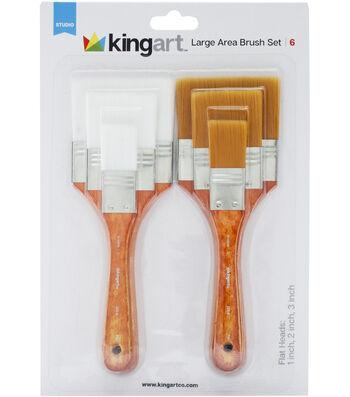"""KINGART Paint Brush Set 6/Pkg-2 Each - 1"""", 2"""" & 3"""""""