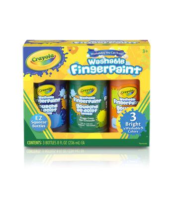 Crayola Washable Finger Paint 8oz 3/Pkg-Secondary Colors