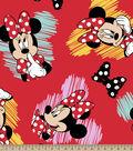 Disney Minnie Mouse Fleece Fabric -Hearts & Bows
