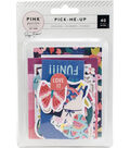 Pink Paislee Pick-Me-Up Embellishments-Ephemera with Gold Foil Accents