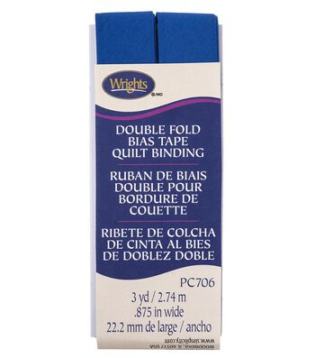 Wrights Double Fold Quilt Binding Bias Tape 7/8''x3 yds-Snorkel Blue