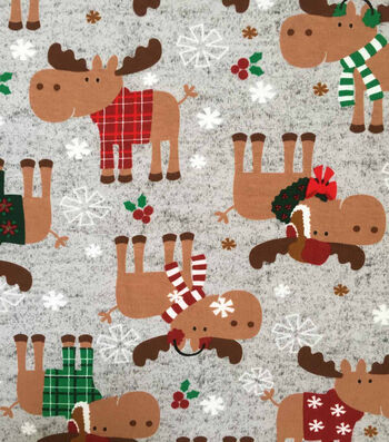 "Doodles Christmas Cotton Fabric 57""-Moose Fest On Gray"