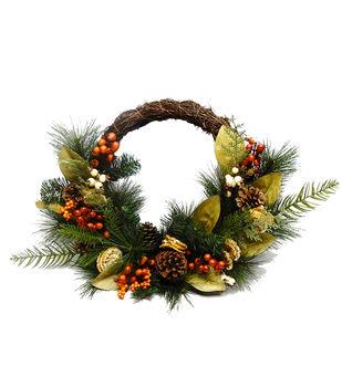 Handmade Holiday Homestead Greenery, Pinecone & Orange Slice Wreath