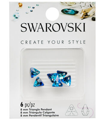 Swarovski Create Your Style 6 pk 8mm Triangle Pendants-Bermuda Blue