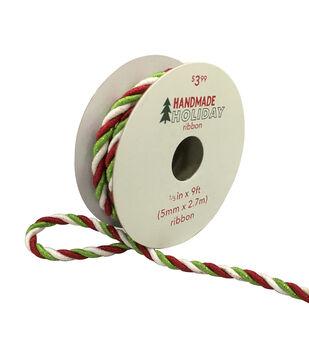 Handmade Holiday Christmas Twist Ribbon 1/5''x9'-Red, Lime & White