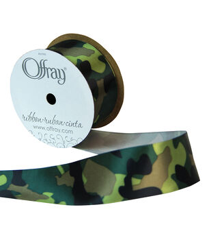 Offray Satin Ribbon 1.5''x9'-Moss Camouflage