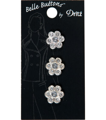 Dritz Belle Button 14mm Stone Flower Clear