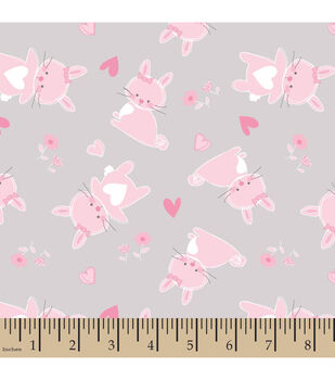 Nursery Flannel Fabric -Cute As A Bunny Toss