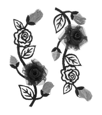 Simplicity Elegant Expression Iron-On Applique-Black & Silver Flower