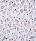 Novelty Cotton Fabric-Meow Cats on White