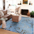 Ruggable Washable 8x10\u0027 Area Rug-Ironwork Swirls Slate Blue