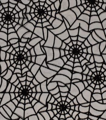 "The Witching Hour Halloween Mesh Fabric 58""-Flocked Web"