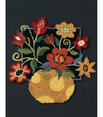 Dimensions Floral On Black Punch Needle Kit