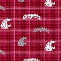 Washington State University Cougars Cotton Fabric -Plaid