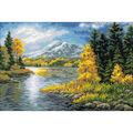 RIOLIS 23.5\u0027\u0027x15.75\u0027\u0027 Counted Cross Stitch Kit-Lake in the Mountains