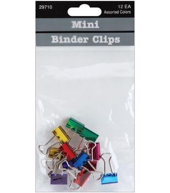 """Baumgartens .5"""" Mini Binder Clips 12 Pack-Assorted Colors"""