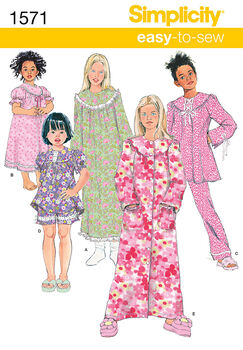 Simplicity Pattern 1571HH 3-4-5-6 -Child Girl Sleepwear