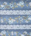 Premium Cotton Vintage Fabric-Floral Lace Stripe Blue Metallic