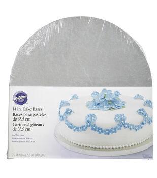 """Wilton Cake Base 14"""" 2/Pkg-Silver Round"""