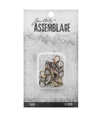 Tim Holtz Assemblage Pack of 12 Lobster Claws Clasps-Assorted