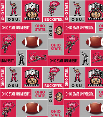 Ohio State University Buckeyes Fleece Fabric 60''-Block