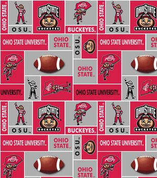Ohio State University Buckeyes Fleece Fabric -Block