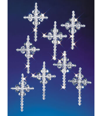"Holiday Beaded Ornament Kit-Crystal Crosses 2"" Makes 24"